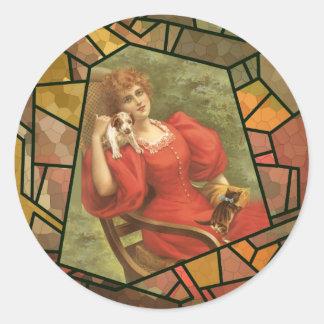 Teja del crujido - señora en rojo pegatina redonda