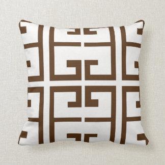 Teja del Griego de Brown Cojín Decorativo
