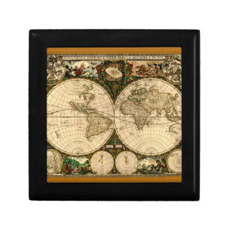 Teja del mapa de Viejo Mundo Cajas De Regalo