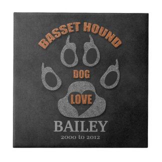 Teja del monumento de la raza del perro de Basset