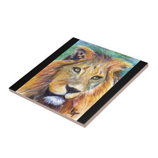 Teja del retrato ACEO del león