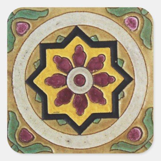 Teja del vintage pegatina cuadrada
