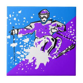 teja diagonal azul púrpura de esquí del acento del