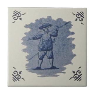 Teja Figural azul holandesa antigua de Repro Delft