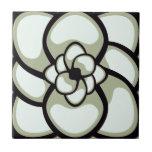 Teja, flor abstracta 3, aceituna ligera, negro, bl