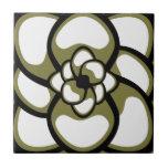 Teja, flor abstracta 3, aceituna, negro, blanco