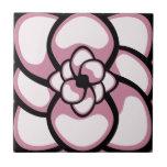 Teja, flor abstracta 3, rosa, negro, blanco