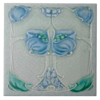Teja floral azul 1905 de Nouveau Repro del arte de