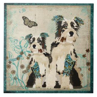 Teja floral de los perros del vintage