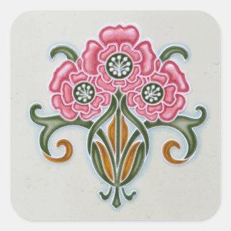 Teja floral de Nouveau del arte Calcomanías Cuadradas Personalizadas
