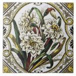 Teja floral del arte del vintage del narciso