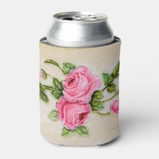 Teja floral subió vintage enfriador de latas