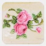 Teja floral subió vintage pegatina cuadradas personalizada