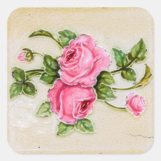Teja floral subió vintage pegatina cuadrada
