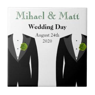 Teja gay del regalo de boda de los claveles verdes