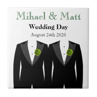 Teja gay del regalo de boda de los novios verdes