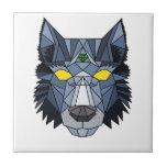 Teja geométrica azul y gris del diseño del lobo
