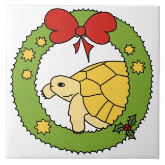 Teja griega de oro del navidad de la tortuga (guir