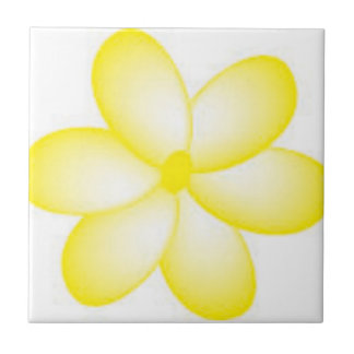 Teja hawaiana amarilla y blanca del Plumeria
