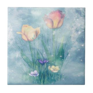 Teja impresa arte con los tulipanes