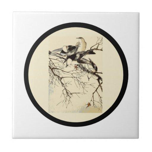 Teja, impresión japonesa del pájaro # 6 azulejo cuadrado pequeño