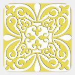 Teja marroquí - amarillo y blanco de la mostaza calcomania cuadradas personalizada