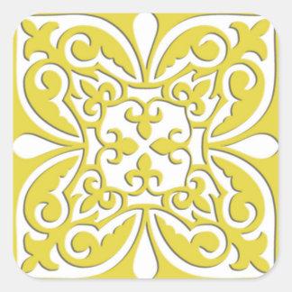 Teja marroquí - amarillo y blanco de la mostaza pegatina cuadrada
