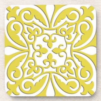Teja marroquí - amarillo y blanco de la mostaza posavaso