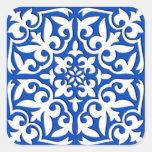 Teja marroquí - azul y blanco de cobalto pegatina cuadrada