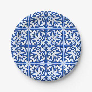 Teja marroquí - azul y blanco de cobalto platos de papel