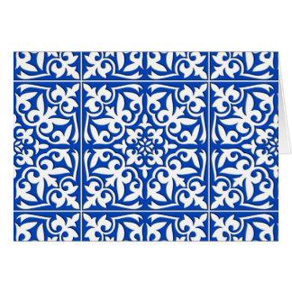 Teja marroquí - azul y blanco de cobalto tarjeta pequeña