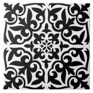Teja marroquí - blanco con el fondo negro