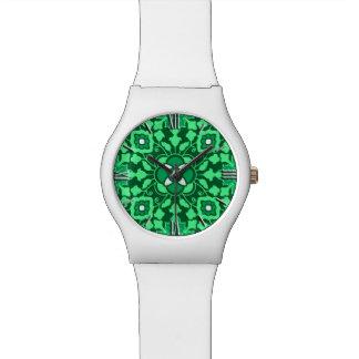 Teja marroquí floral, luz y verde de jade oscuro relojes de mano