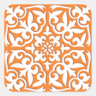 Teja marroquí - naranja coralino y blanco pegatina cuadrada