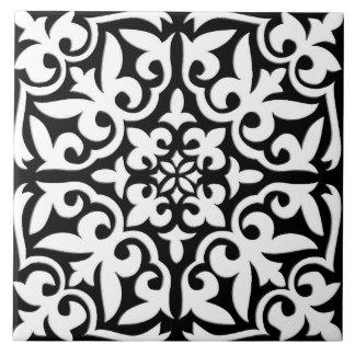 Teja marroquí - negro con el fondo blanco