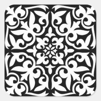 Teja marroquí - negro con el fondo blanco pegatina cuadrada