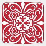 Teja marroquí - rojo oscuro y blanca pegatina cuadrada