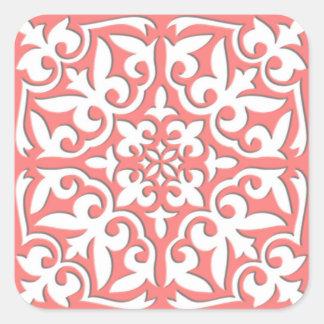 Teja marroquí - rosado coralino y blanco pegatina cuadrada
