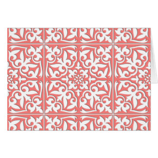 Teja marroquí - rosado coralino y blanco tarjeta pequeña
