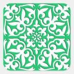 Teja marroquí - verde y blanco de jade calcomania cuadradas personalizadas