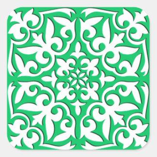 Teja marroquí - verde y blanco de jade pegatina cuadrada