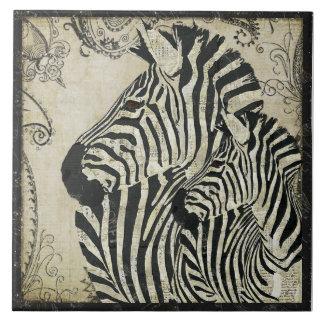 Teja negra y blanca del vintage de las cebras