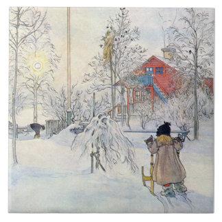 Teja o Trivet del arte de la escena de la nieve de