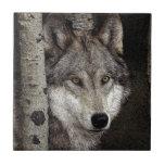 Teja o Trivet del arte de la tinta del lobo gris