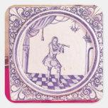 Teja que representa a un clarinetist, 1706 calcomanía cuadradase