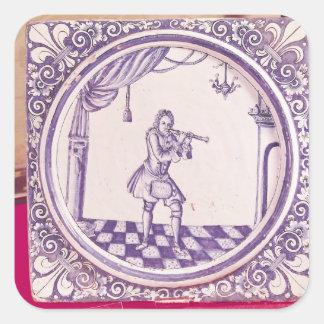 Teja que representa a un clarinetist, 1706 pegatina cuadrada