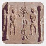 Teja que representa Adán y a Eva, romanos Pegatina Cuadrada