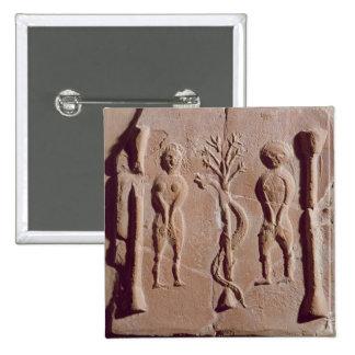 Teja que representa Adán y a Eva, romanos Pin Cuadrado