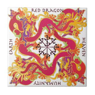 Teja roja del dragón del Mah Jongg