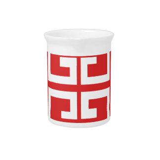 Teja roja y blanca jarra para bebida